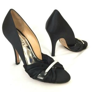 Badgley Mischka Heels 6.5 Black Satin Rhinestone
